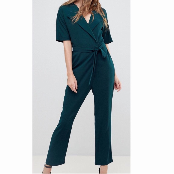 48e9bba7d400 ASOS Shirt Style Wrap Jumpsuit with Self Belt